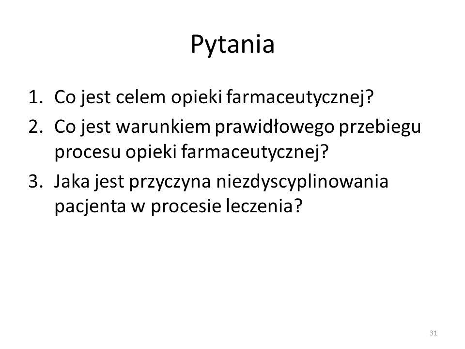 Pytania 1.Co jest celem opieki farmaceutycznej.
