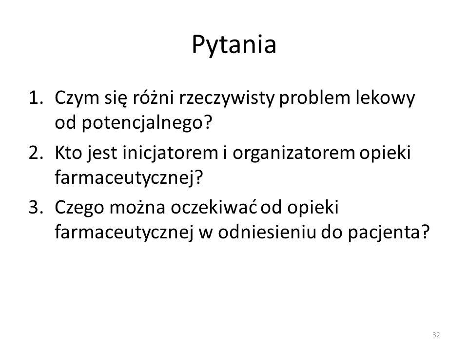 Pytania 1.Czym się różni rzeczywisty problem lekowy od potencjalnego.