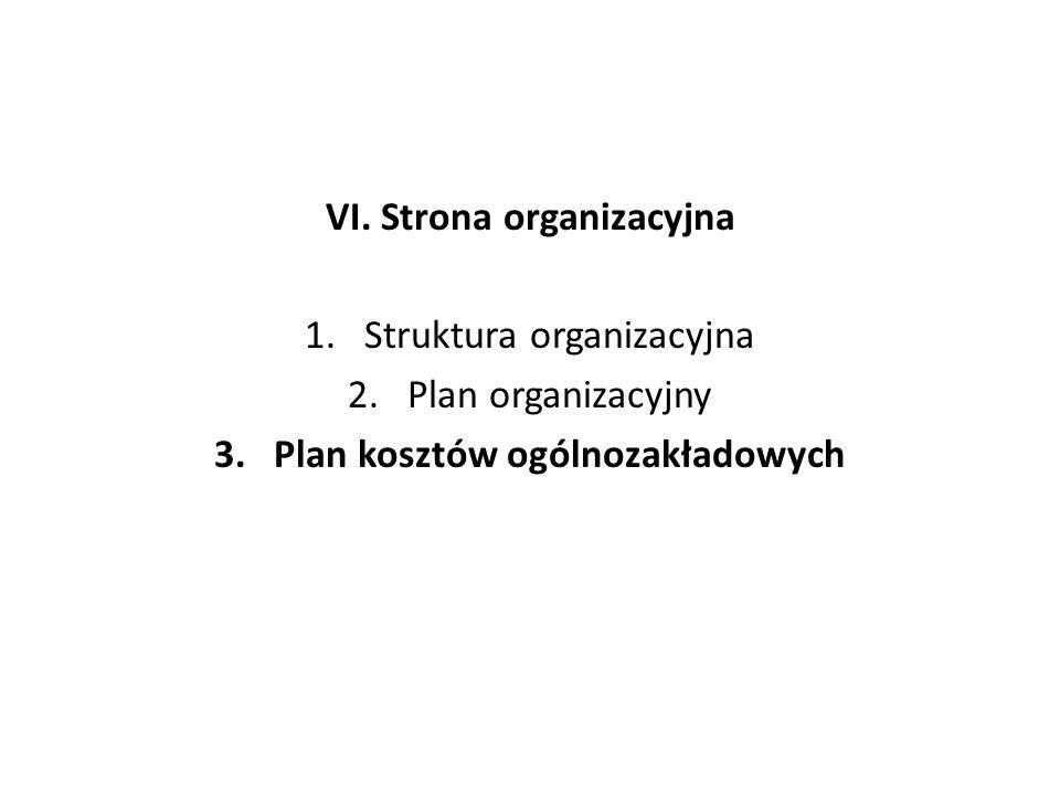 VI. Strona organizacyjna 1.Struktura organizacyjna 2.Plan organizacyjny 3.Plan kosztów ogólnozakładowych