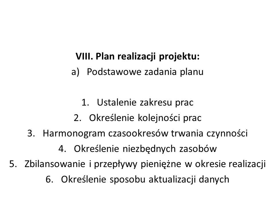VIII. Plan realizacji projektu: a)Podstawowe zadania planu 1.Ustalenie zakresu prac 2.Określenie kolejności prac 3.Harmonogram czasookresów trwania cz