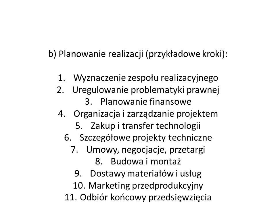 b) Planowanie realizacji (przykładowe kroki): 1.Wyznaczenie zespołu realizacyjnego 2.Uregulowanie problematyki prawnej 3.Planowanie finansowe 4.Organi