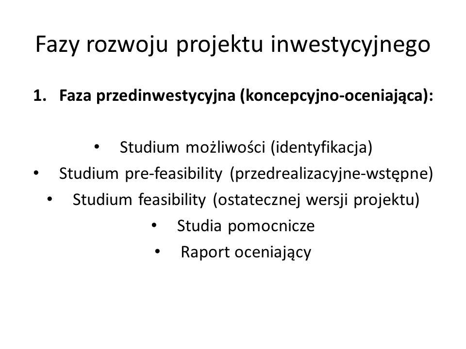 Fazy rozwoju projektu inwestycyjnego 1.Faza przedinwestycyjna (koncepcyjno-oceniająca): Studium możliwości (identyfikacja) Studium pre-feasibility (pr
