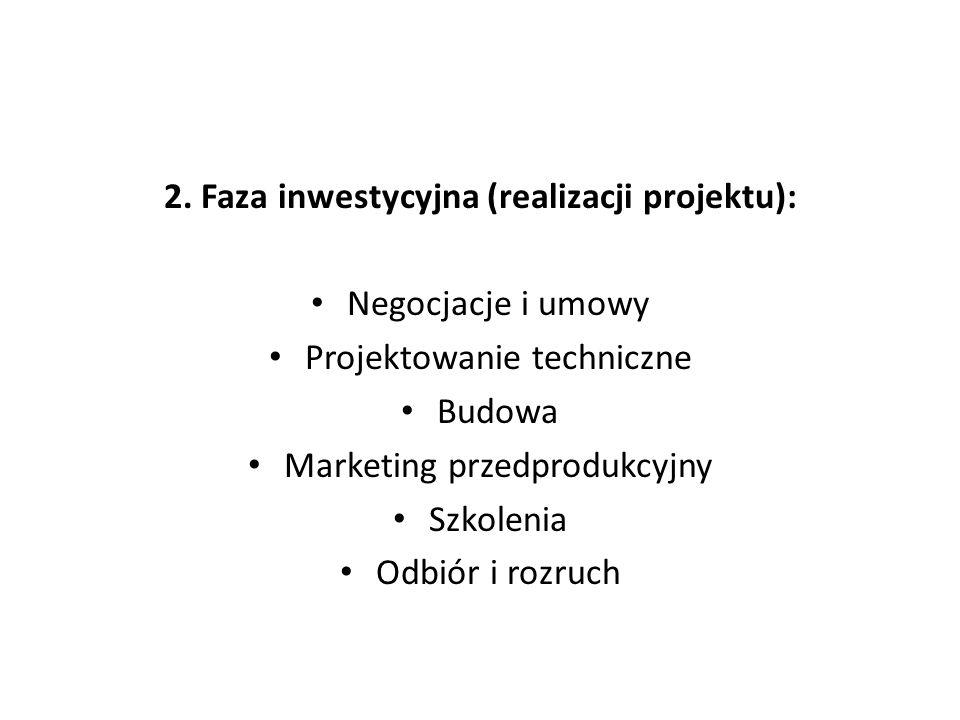 2. Faza inwestycyjna (realizacji projektu): Negocjacje i umowy Projektowanie techniczne Budowa Marketing przedprodukcyjny Szkolenia Odbiór i rozruch