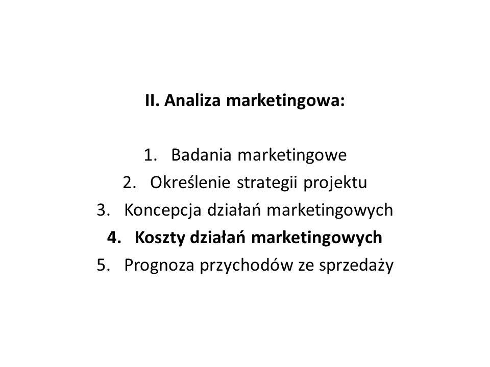 II. Analiza marketingowa: 1.Badania marketingowe 2.Określenie strategii projektu 3.Koncepcja działań marketingowych 4.Koszty działań marketingowych 5.