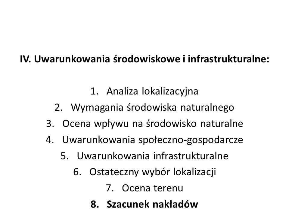 IV. Uwarunkowania środowiskowe i infrastrukturalne: 1.Analiza lokalizacyjna 2.Wymagania środowiska naturalnego 3.Ocena wpływu na środowisko naturalne