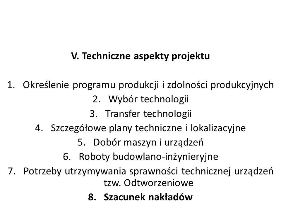 V. Techniczne aspekty projektu 1.Określenie programu produkcji i zdolności produkcyjnych 2.Wybór technologii 3.Transfer technologii 4.Szczegółowe plan