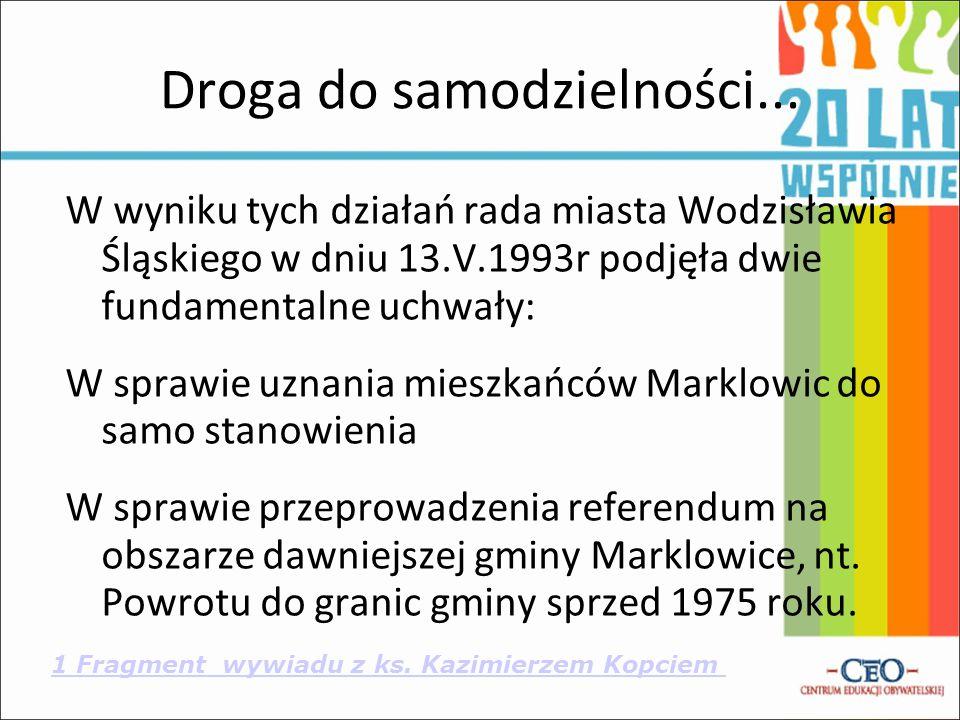 1 Fragment wywiadu z ks. Kazimierzem Kopciem Droga do samodzielności... W wyniku tych działań rada miasta Wodzisławia Śląskiego w dniu 13.V.1993r podj
