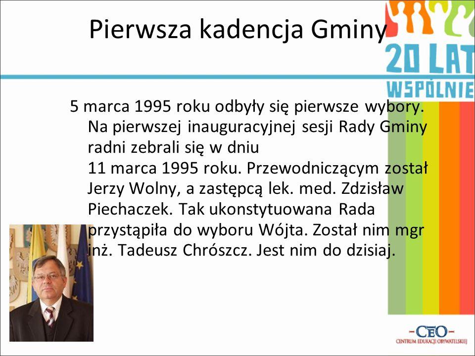 Pierwsza kadencja Gminy 5 marca 1995 roku odbyły się pierwsze wybory. Na pierwszej inauguracyjnej sesji Rady Gminy radni zebrali się w dniu 11 marca 1