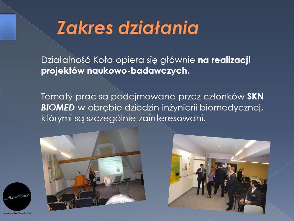 Działalność Koła opiera się głównie na realizacji projektów naukowo-badawczych. Tematy prac są podejmowane przez członków SKN BIOMED w obrębie dziedzi