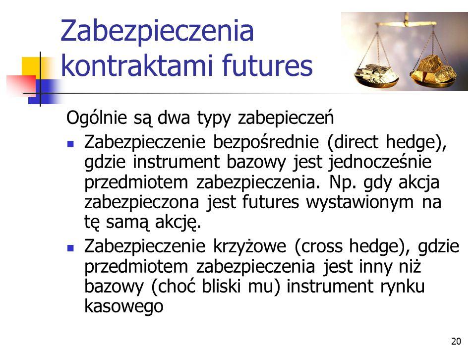 20 Zabezpieczenia kontraktami futures Ogólnie są dwa typy zabepieczeń Zabezpieczenie bezpośrednie (direct hedge), gdzie instrument bazowy jest jednocz