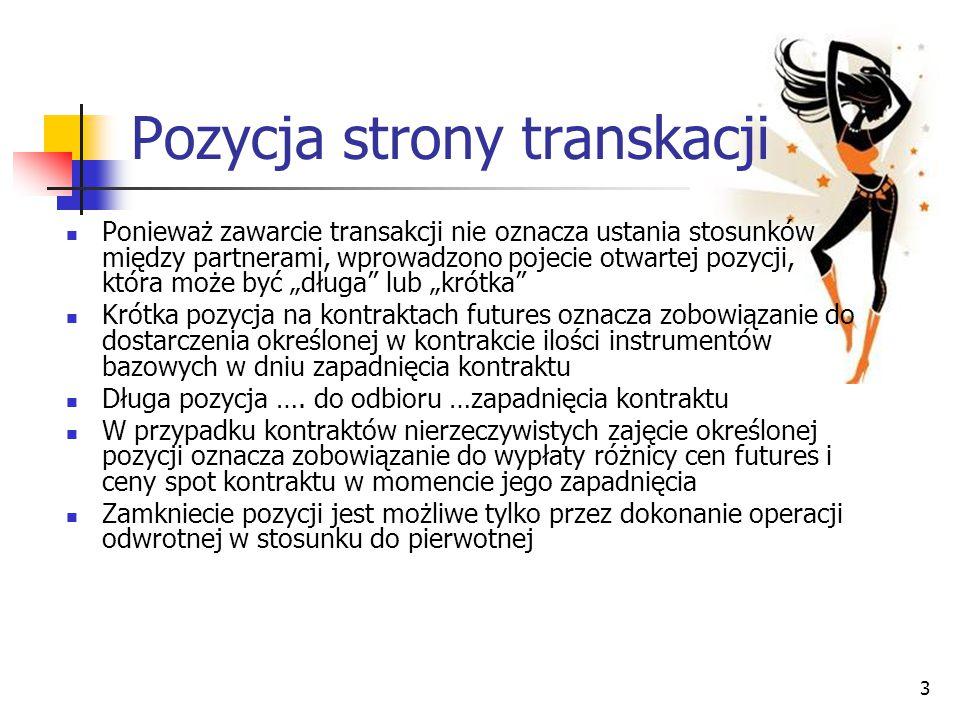 3 Pozycja strony transkacji Ponieważ zawarcie transakcji nie oznacza ustania stosunków między partnerami, wprowadzono pojecie otwartej pozycji, która