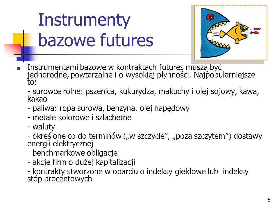 6 Instrumenty bazowe futures Instrumentami bazowe w kontraktach futures muszą być jednorodne, powtarzalne i o wysokiej płynności. Najpopularniejsze to