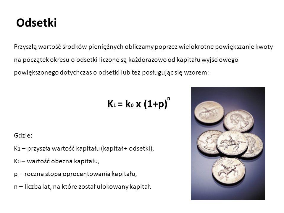 Przyszłą wartość środków pieniężnych obliczamy poprzez wielokrotne powiększanie kwoty na początek okresu o odsetki liczone są każdorazowo od kapitału wyjściowego powiększonego dotychczas o odsetki lub też posługując się wzorem: K 1 = k 0 x (1+p) n Gdzie: K 1 – przyszła wartość kapitału (kapitał + odsetki), K 0 – wartość obecna kapitału, p – roczna stopa oprocentowania kapitału, n – liczba lat, na które został ulokowany kapitał.