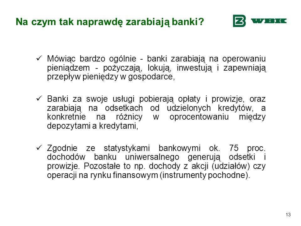 13 Na czym tak naprawdę zarabiają banki? Mówiąc bardzo ogólnie - banki zarabiają na operowaniu pieniądzem - pożyczają, lokują, inwestują i zapewniają