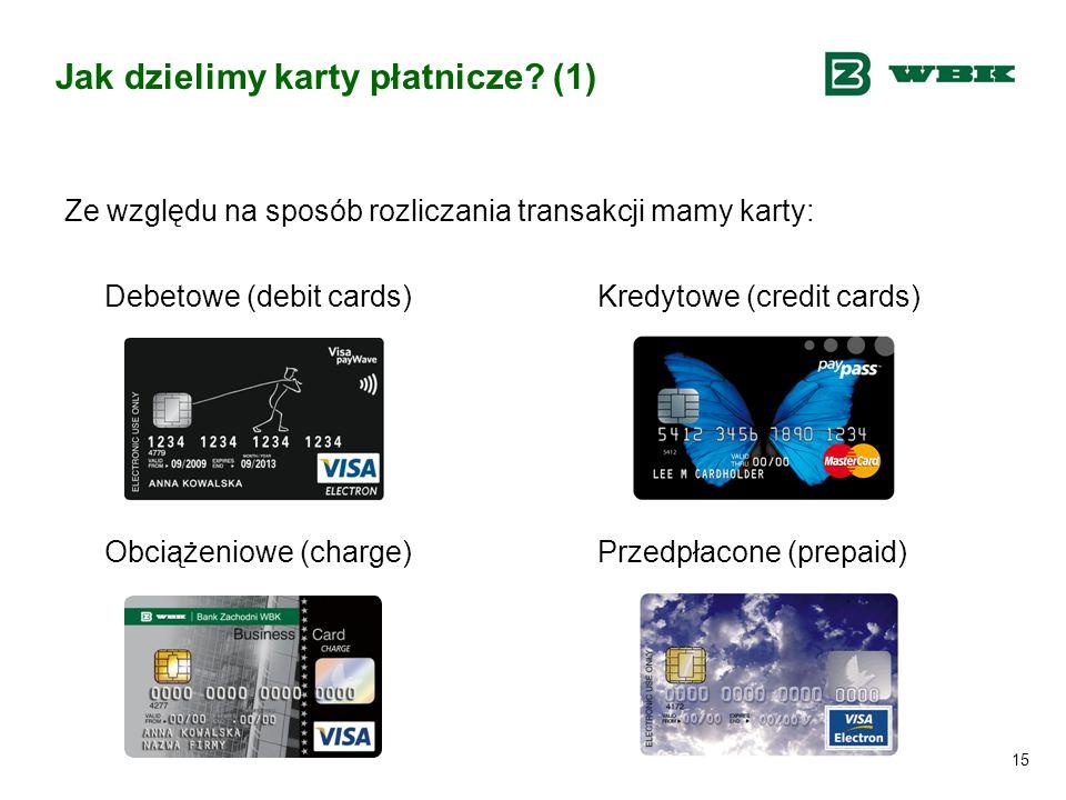 15 Jak dzielimy karty płatnicze? (1) Ze względu na sposób rozliczania transakcji mamy karty: Debetowe (debit cards) Kredytowe (credit cards) Obciążeni