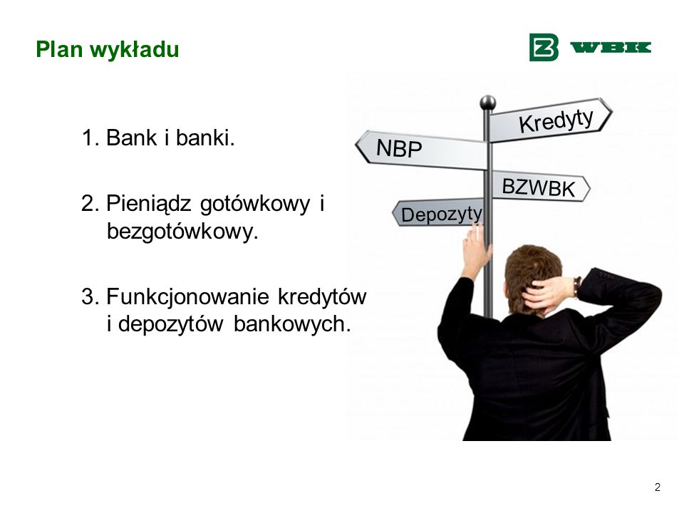 2 Plan wykładu 1. Bank i banki. 2. Pieniądz gotówkowy i bezgotówkowy. 3. Funkcjonowanie kredytów i depozytów bankowych. Kredyty Depozyty NBP BZWBK