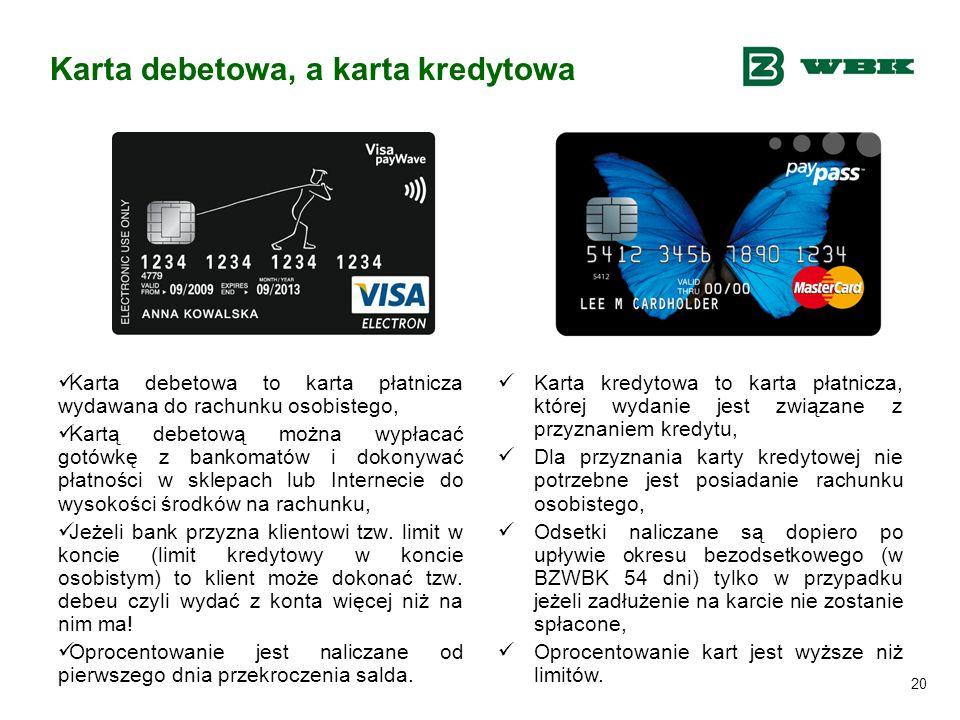 20 Karta debetowa, a karta kredytowa Karta debetowa to karta płatnicza wydawana do rachunku osobistego, Kartą debetową można wypłacać gotówkę z bankom