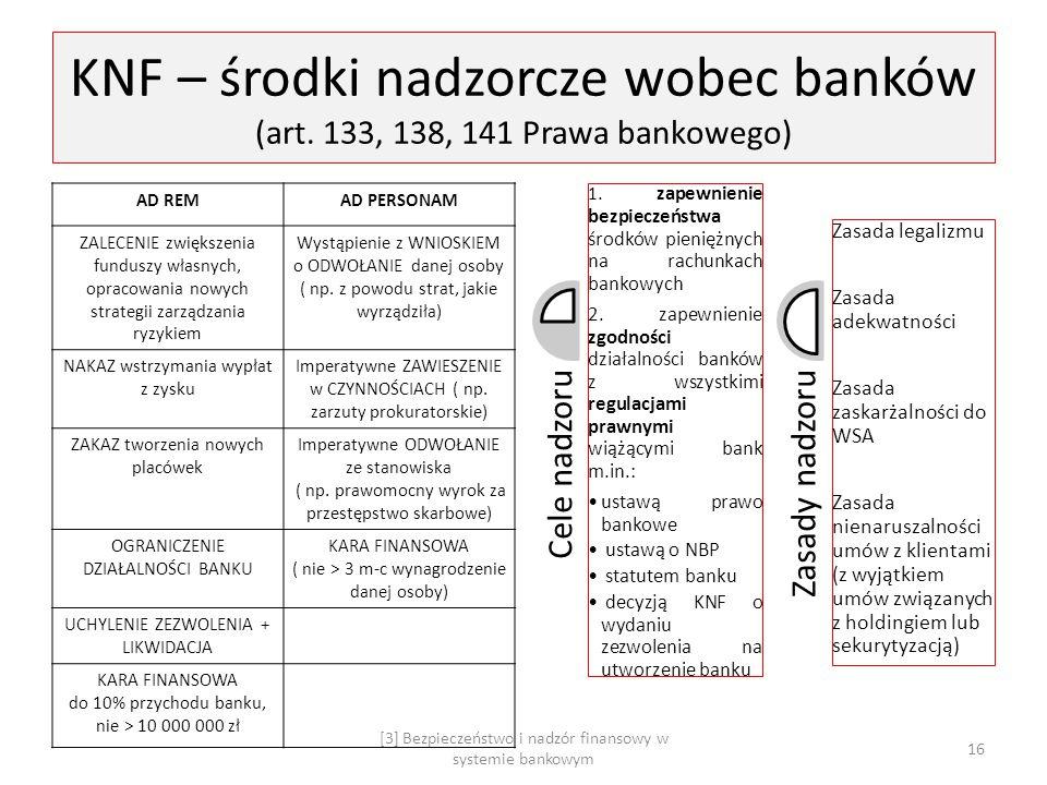 KNF – środki nadzorcze wobec banków (art. 133, 138, 141 Prawa bankowego) AD REMAD PERSONAM ZALECENIE zwiększenia funduszy własnych, opracowania nowych