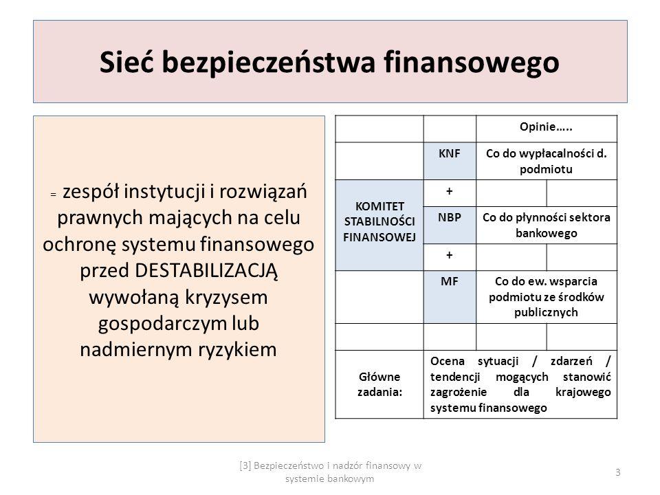 Sieć bezpieczeństwa finansowego = zespół instytucji i rozwiązań prawnych mających na celu ochronę systemu finansowego przed DESTABILIZACJĄ wywołaną kr