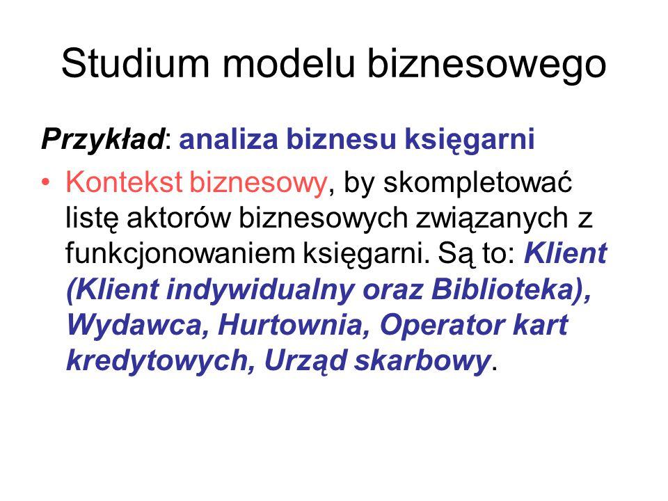 Studium modelu biznesowego Przykład: analiza biznesu księgarni Kontekst biznesowy, by skompletować listę aktorów biznesowych związanych z funkcjonowan