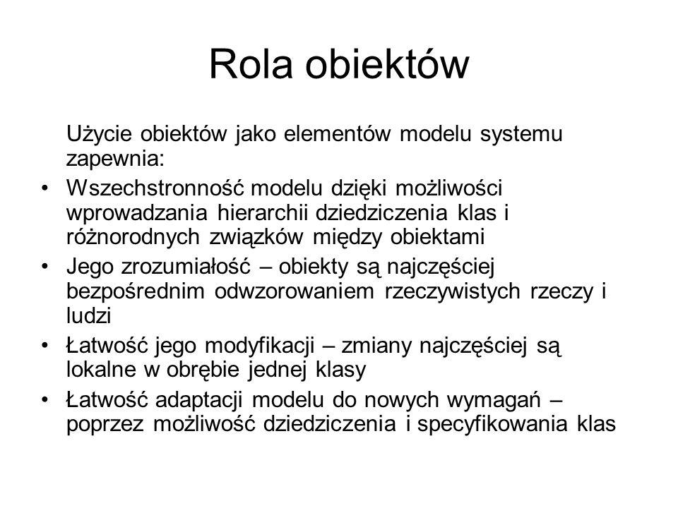 Rola obiektów Użycie obiektów jako elementów modelu systemu zapewnia: Wszechstronność modelu dzięki możliwości wprowadzania hierarchii dziedziczenia k