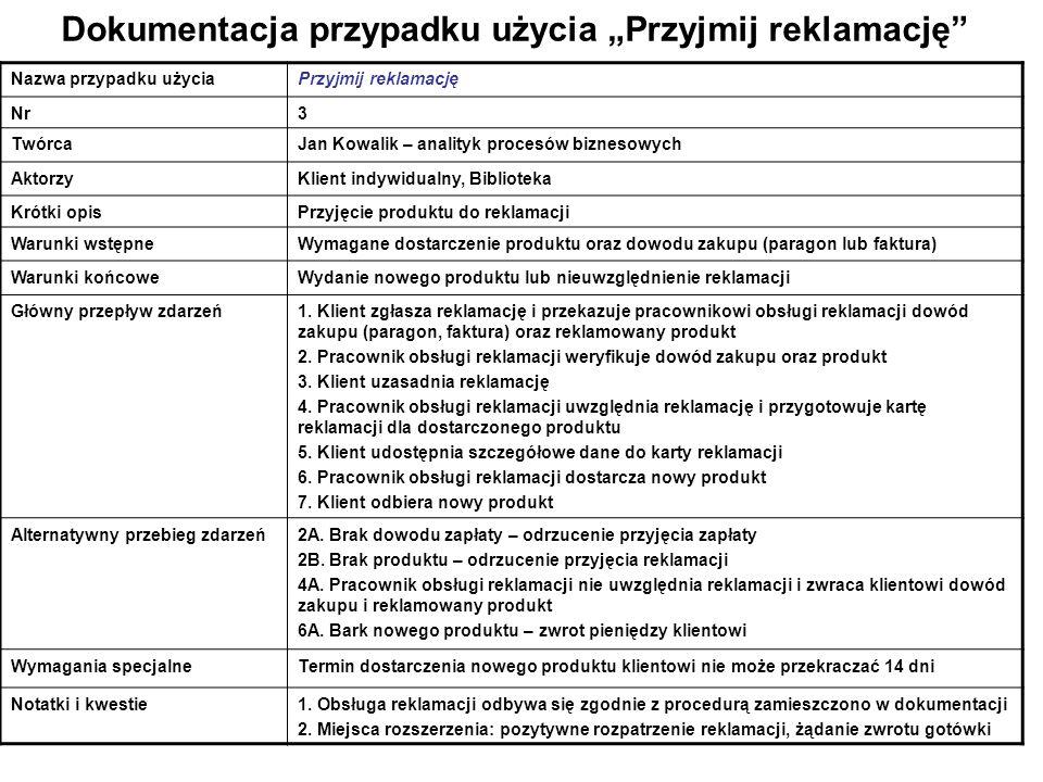 """Dokumentacja przypadku użycia """"Przyjmij reklamację"""" Nazwa przypadku użyciaPrzyjmij reklamację Nr3 TwórcaJan Kowalik – analityk procesów biznesowych Ak"""
