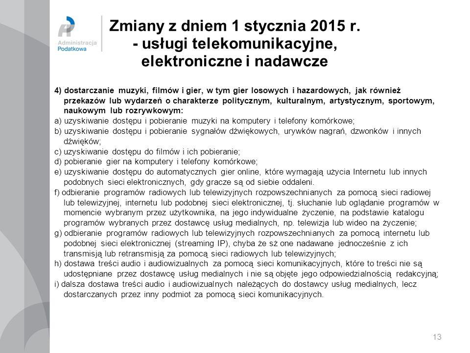 Zmiany z dniem 1 stycznia 2015 r. - usługi telekomunikacyjne, elektroniczne i nadawcze 4) dostarczanie muzyki, filmów i gier, w tym gier losowych i ha