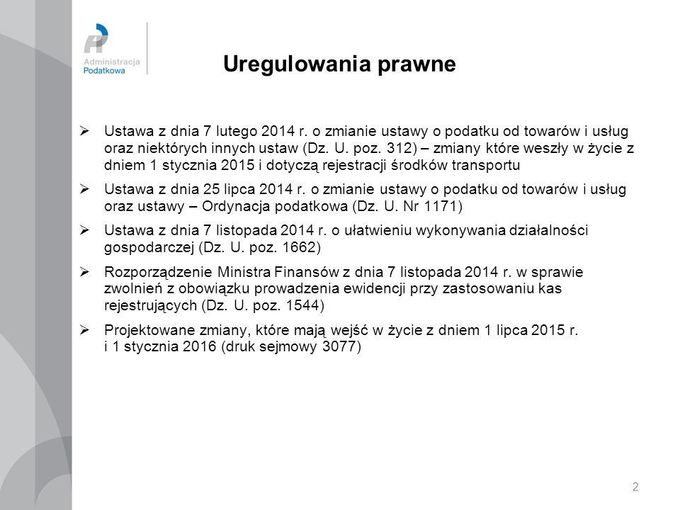 2 Uregulowania prawne  Ustawa z dnia 7 lutego 2014 r. o zmianie ustawy o podatku od towarów i usług oraz niektórych innych ustaw (Dz. U. poz. 312) –