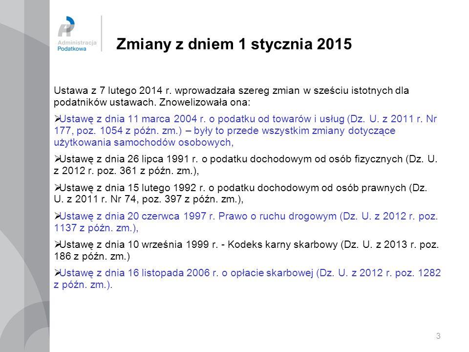 4 Zmiany z dniem 1 stycznia 2015 Ustawa nowelizująca z 7 lutego 2014 r.