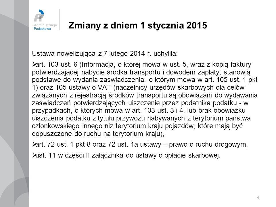 4 Zmiany z dniem 1 stycznia 2015 Ustawa nowelizująca z 7 lutego 2014 r. uchyliła:  art. 103 ust. 6 (Informacja, o której mowa w ust. 5, wraz z kopią