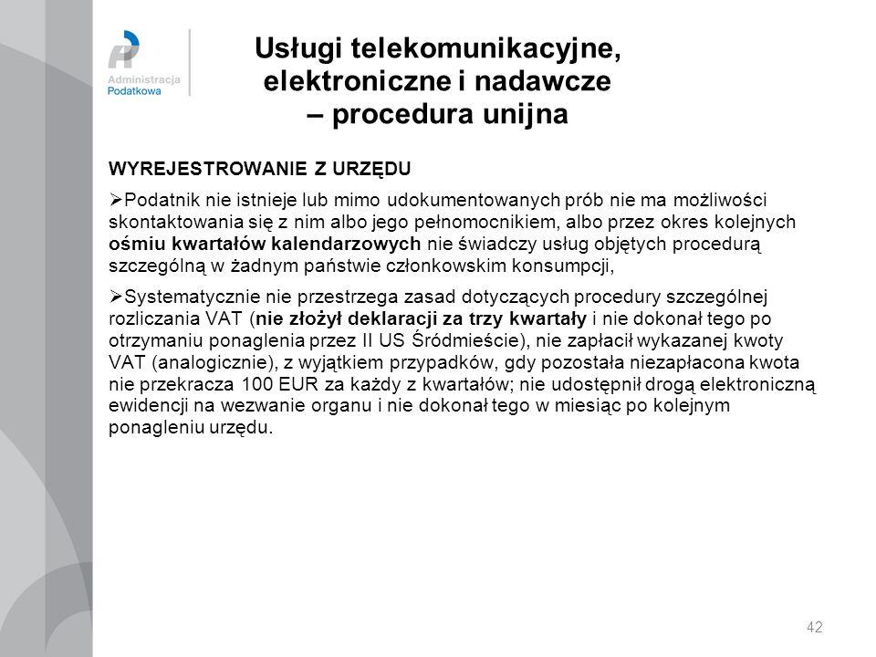 Usługi telekomunikacyjne, elektroniczne i nadawcze – procedura unijna WYREJESTROWANIE Z URZĘDU  Podatnik nie istnieje lub mimo udokumentowanych prób