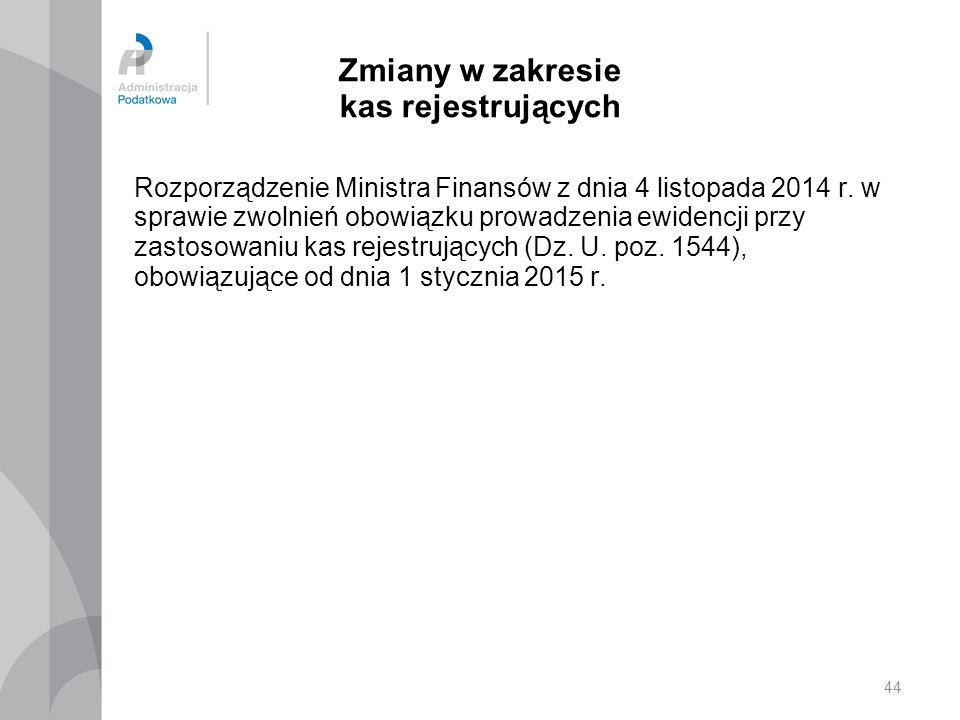 Zmiany w zakresie kas rejestrujących Rozporządzenie Ministra Finansów z dnia 4 listopada 2014 r. w sprawie zwolnień obowiązku prowadzenia ewidencji pr