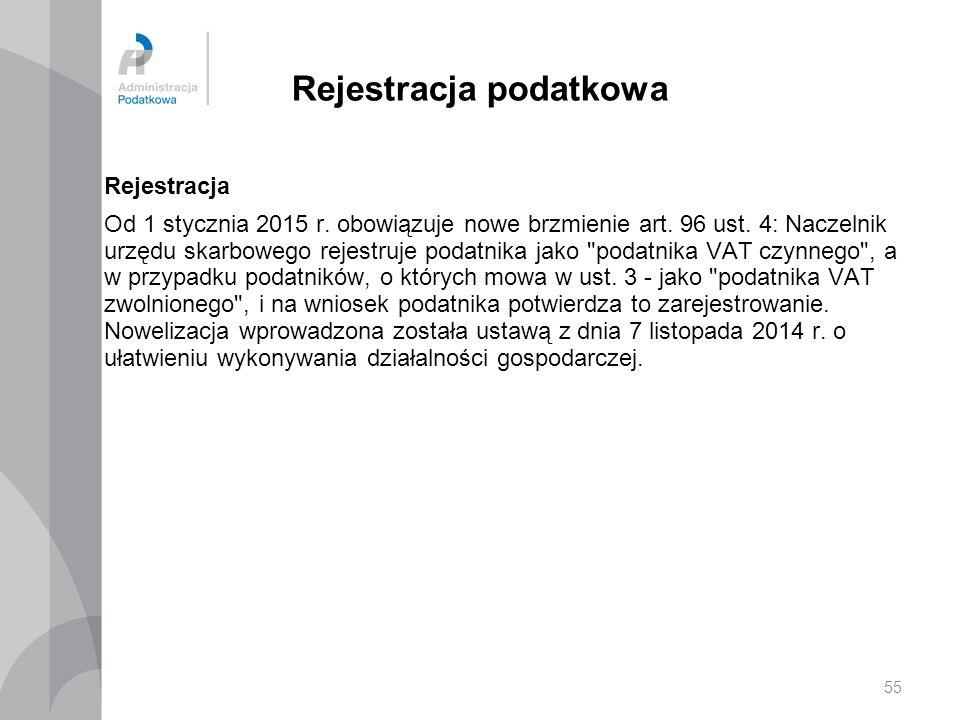 Rejestracja podatkowa Rejestracja Od 1 stycznia 2015 r. obowiązuje nowe brzmienie art. 96 ust. 4: Naczelnik urzędu skarbowego rejestruje podatnika jak