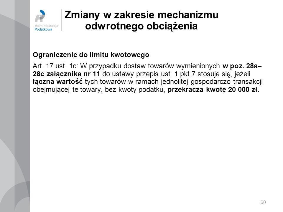 Zmiany w zakresie mechanizmu odwrotnego obciążenia Ograniczenie do limitu kwotowego Art. 17 ust. 1c: W przypadku dostaw towarów wymienionych w poz. 28