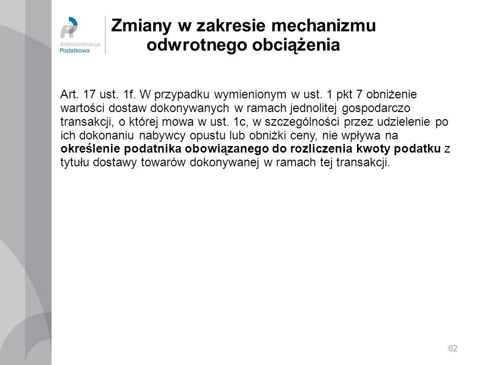Zmiany w zakresie mechanizmu odwrotnego obciążenia Art. 17 ust. 1f. W przypadku wymienionym w ust. 1 pkt 7 obniżenie wartości dostaw dokonywanych w ra