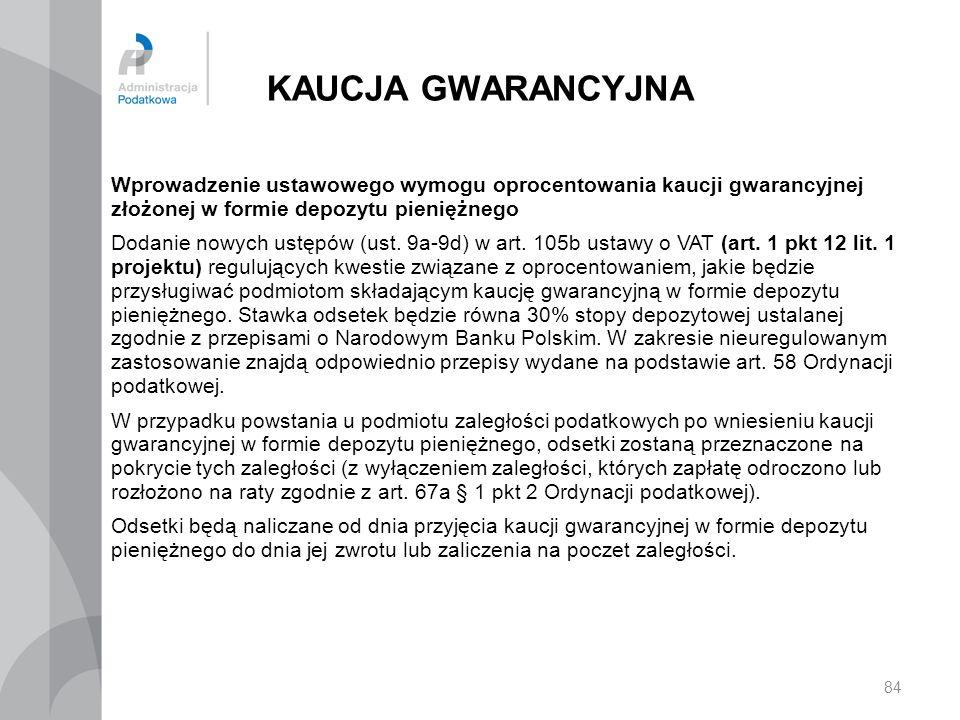 KAUCJA GWARANCYJNA Wprowadzenie ustawowego wymogu oprocentowania kaucji gwarancyjnej złożonej w formie depozytu pieniężnego Dodanie nowych ustępów (us