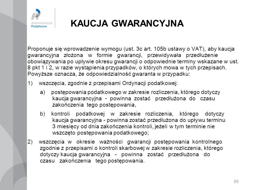 KAUCJA GWARANCYJNA Proponuje się wprowadzenie wymogu (ust. 3c art. 105b ustawy o VAT), aby kaucja gwarancyjna złożona w formie gwarancji, przewidywała