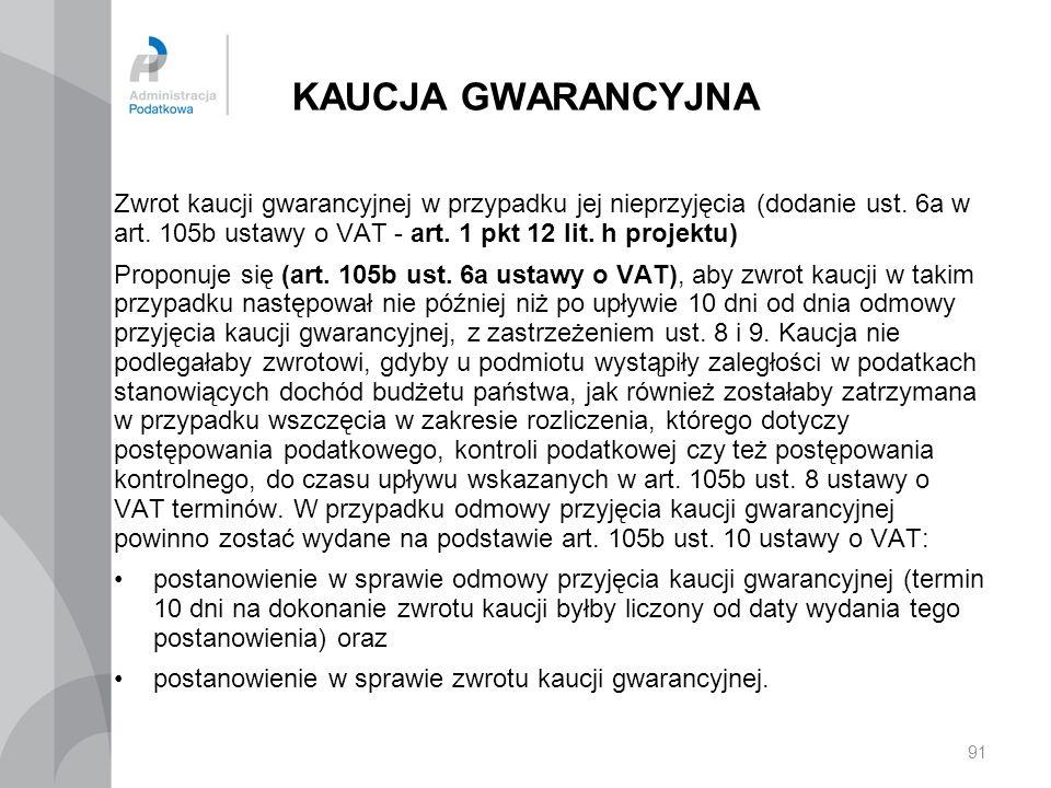 KAUCJA GWARANCYJNA Zwrot kaucji gwarancyjnej w przypadku jej nieprzyjęcia (dodanie ust. 6a w art. 105b ustawy o VAT - art. 1 pkt 12 lit. h projektu) P