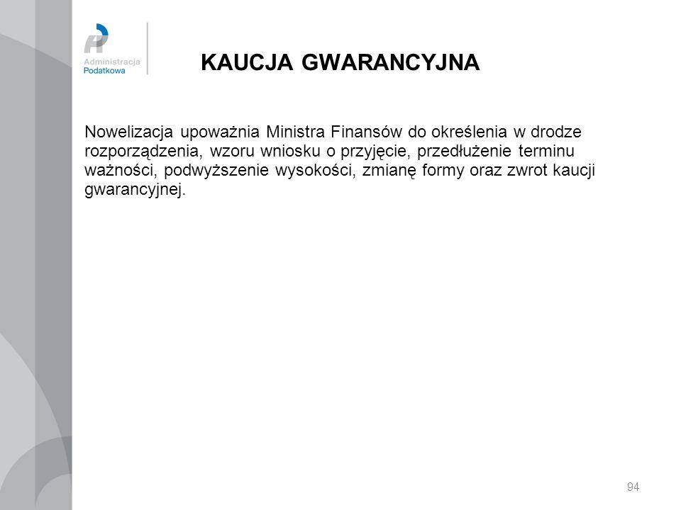 KAUCJA GWARANCYJNA Nowelizacja upoważnia Ministra Finansów do określenia w drodze rozporządzenia, wzoru wniosku o przyjęcie, przedłużenie terminu ważn