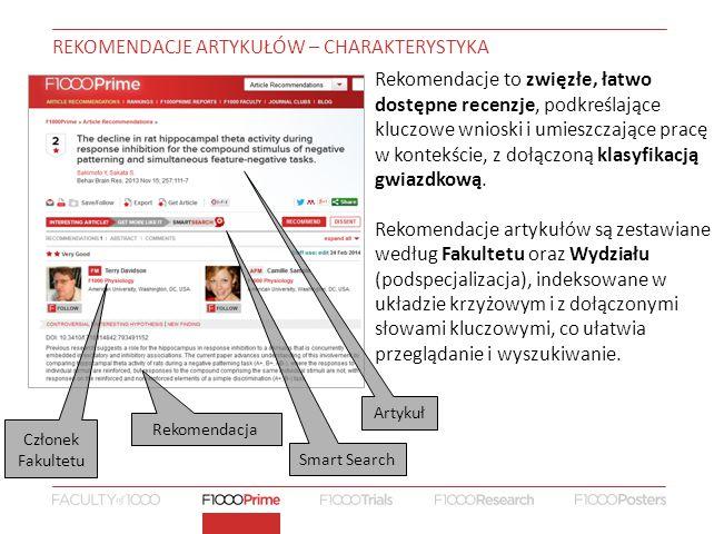 REKOMENDACJE ARTYKUŁÓW – CHARAKTERYSTYKA Rekomendacje to zwięzłe, łatwo dostępne recenzje, podkreślające kluczowe wnioski i umieszczające pracę w kontekście, z dołączoną klasyfikacją gwiazdkową.