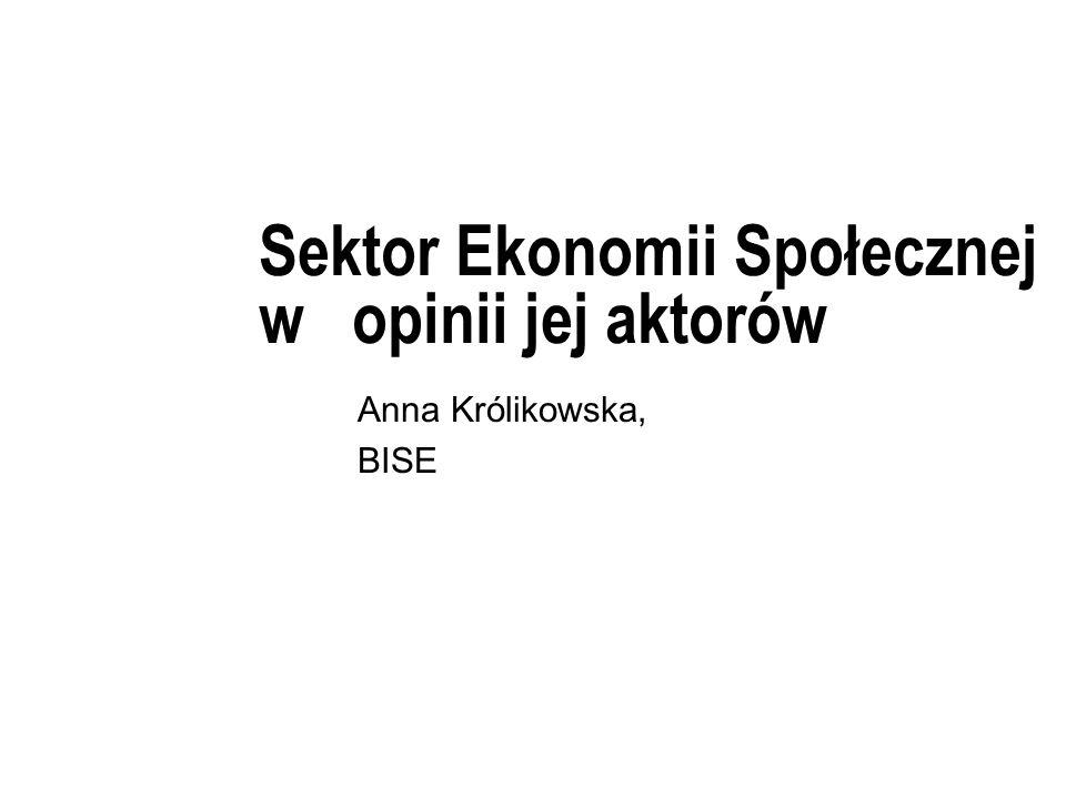 Sektor Ekonomii Społecznej w opinii jej aktorów Anna Królikowska, BISE