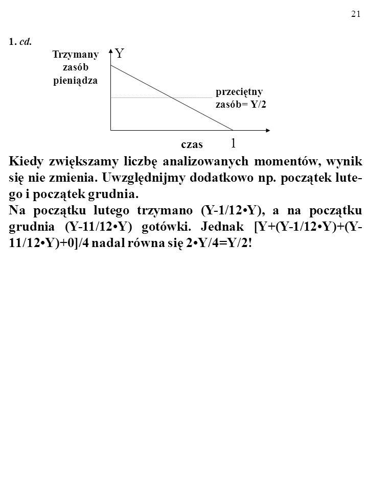 20 1. cd. W takiej sytuacji przeciętna ilość gotówki trzymana w ciągu roku wynosi: (Y+0)/2 = Y/2. Przecież na początku roku trzymano Y, a na końcu – 0
