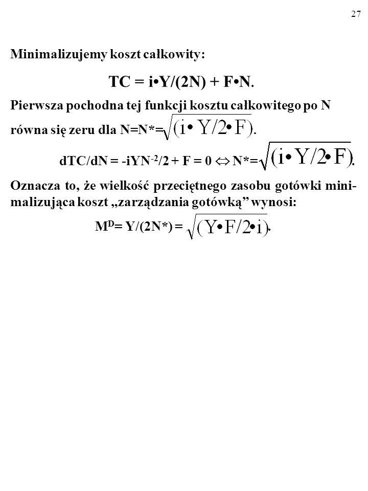 26 Otóż należy zminimalizować spowodowany tym koszt całko- wity, TC (ang. total cost). TC = iY/(2N)+FN, gdzie: TC–całkowity koszt trzymania przeciętne