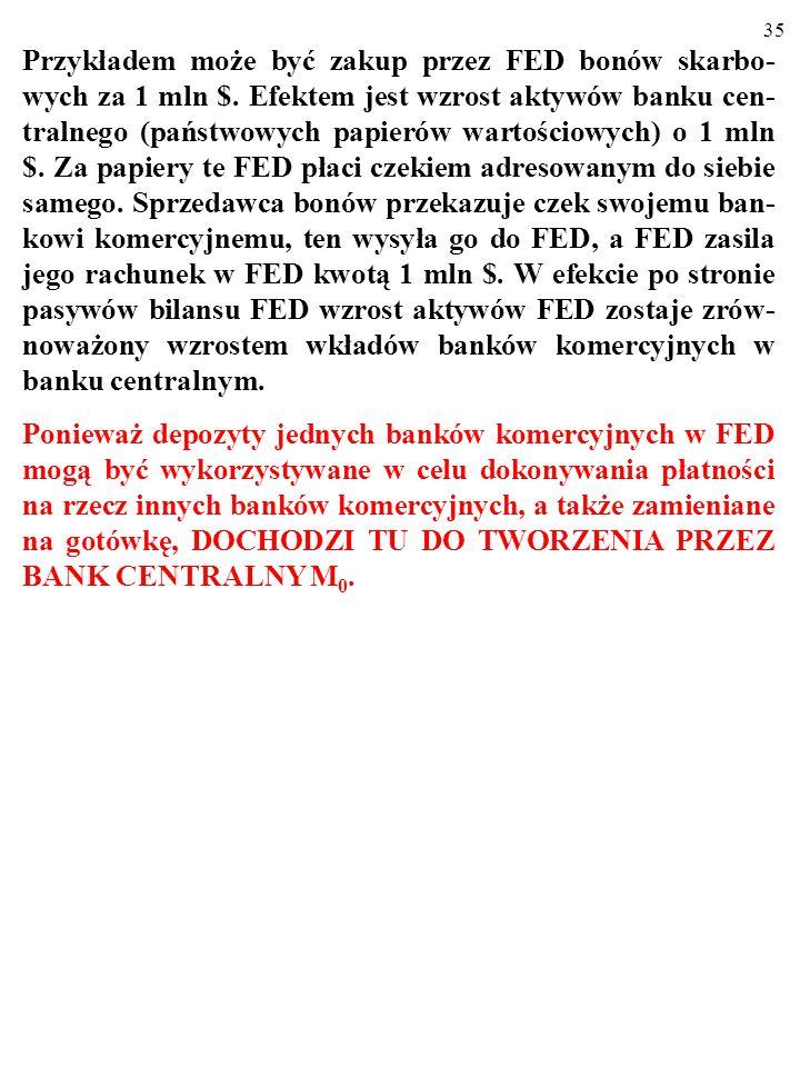 34 3.1. OPERACJE OTWARTEGO RYNKU Przykładem może być zakup przez FED bonów skarbo- wych za 1 mln $. Efektem jest wzrost aktywów banku cen- tralnego (p