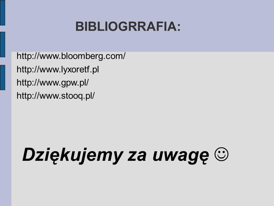 BIBLIOGRRAFIA: http://www.bloomberg.com/ http://www.lyxoretf.pl http://www.gpw.pl/ http://www.stooq.pl/ Dziękujemy za uwagę