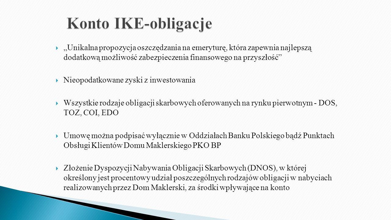 """ """"Unikalna propozycja oszczędzania na emeryturę, która zapewnia najlepszą dodatkową możliwość zabezpieczenia finansowego na przyszłość  Nieopodatkowane zyski z inwestowania  Wszystkie rodzaje obligacji skarbowych oferowanych na rynku pierwotnym - DOS, TOZ, COI, EDO  Umowę można podpisać wyłącznie w Oddziałach Banku Polskiego bądź Punktach Obsługi Klientów Domu Maklerskiego PKO BP  Złożenie Dyspozycji Nabywania Obligacji Skarbowych (DNOS), w której określony jest procentowy udział poszczególnych rodzajów obligacji w nabyciach realizowanych przez Dom Maklerski, za środki wpływające na konto"""