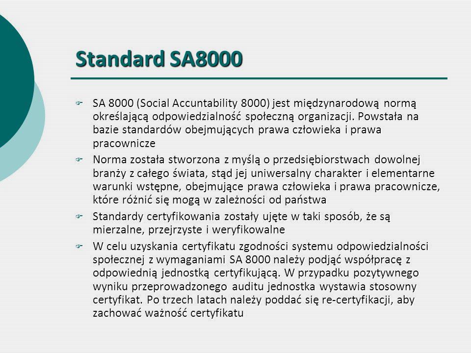 Standard SA8000  SA 8000 (Social Accuntability 8000) jest międzynarodową normą określającą odpowiedzialność społeczną organizacji. Powstała na bazie