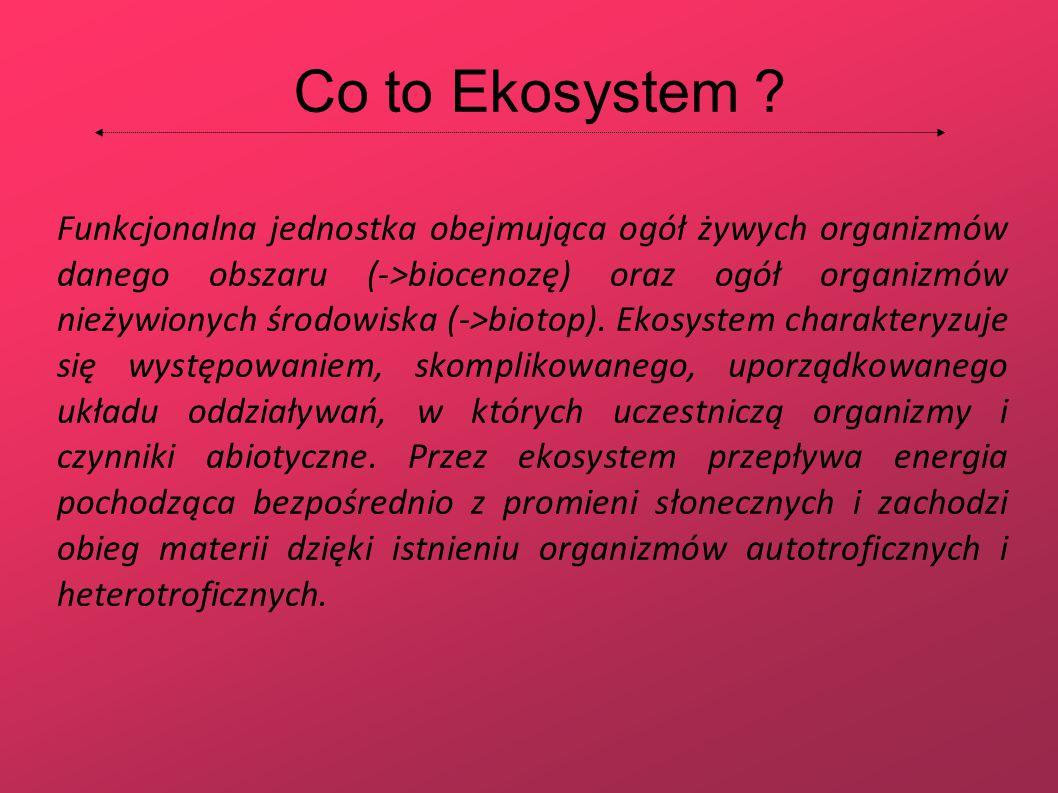Co to Ekosystem ? Funkcjonalna jednostka obejmująca ogół żywych organizmów danego obszaru (->biocenozę) oraz ogół organizmów nieżywionych środowiska (
