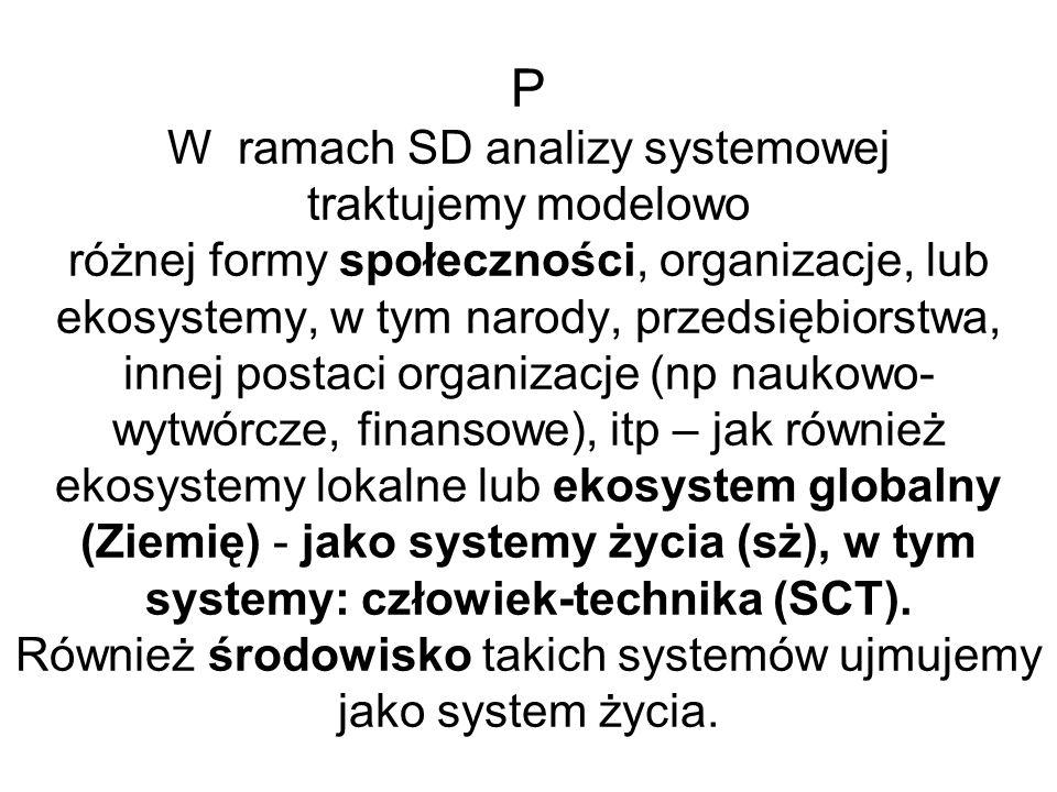P W ramach SD analizy systemowej traktujemy modelowo różnej formy społeczności, organizacje, lub ekosystemy, w tym narody, przedsiębiorstwa, innej pos