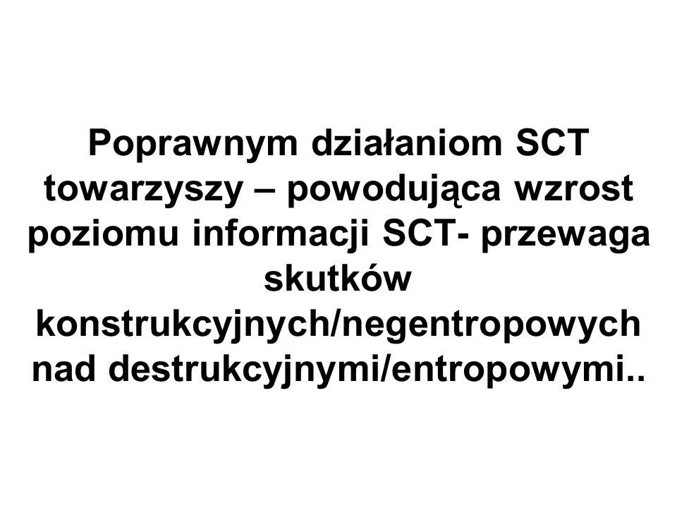 Poprawnym działaniom SCT towarzyszy – powodująca wzrost poziomu informacji SCT- przewaga skutków konstrukcyjnych/negentropowych nad destrukcyjnymi/ent